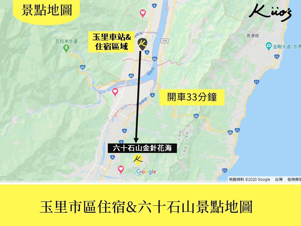 花蓮_玉里住宿地圖及六十石山景點地圖